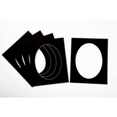 Pack of 5 Black Oval Picture Mounts