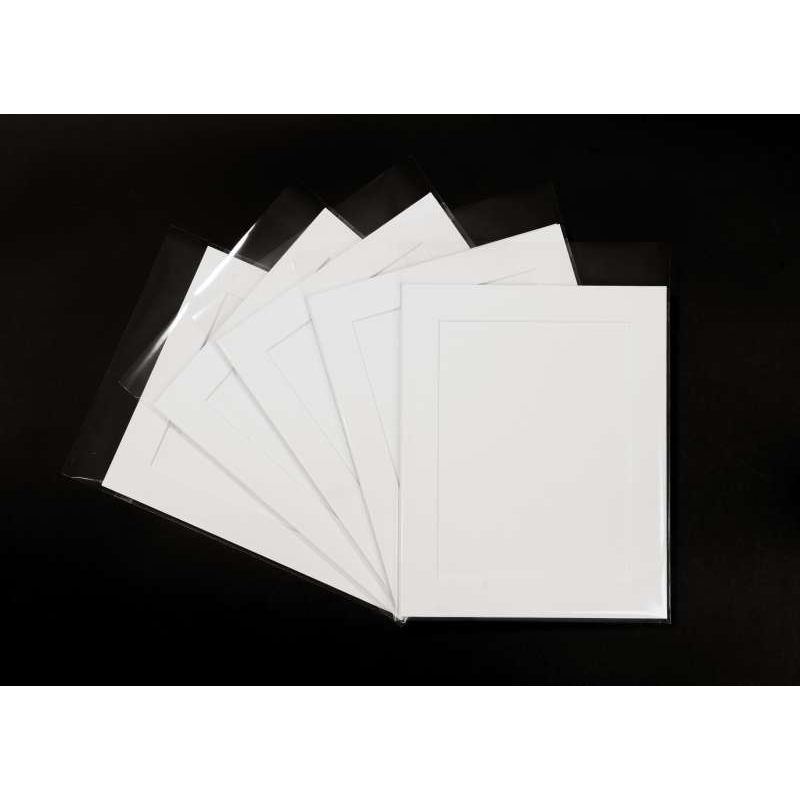 Pack of 5 White Picture Mounts, Backing and Bags