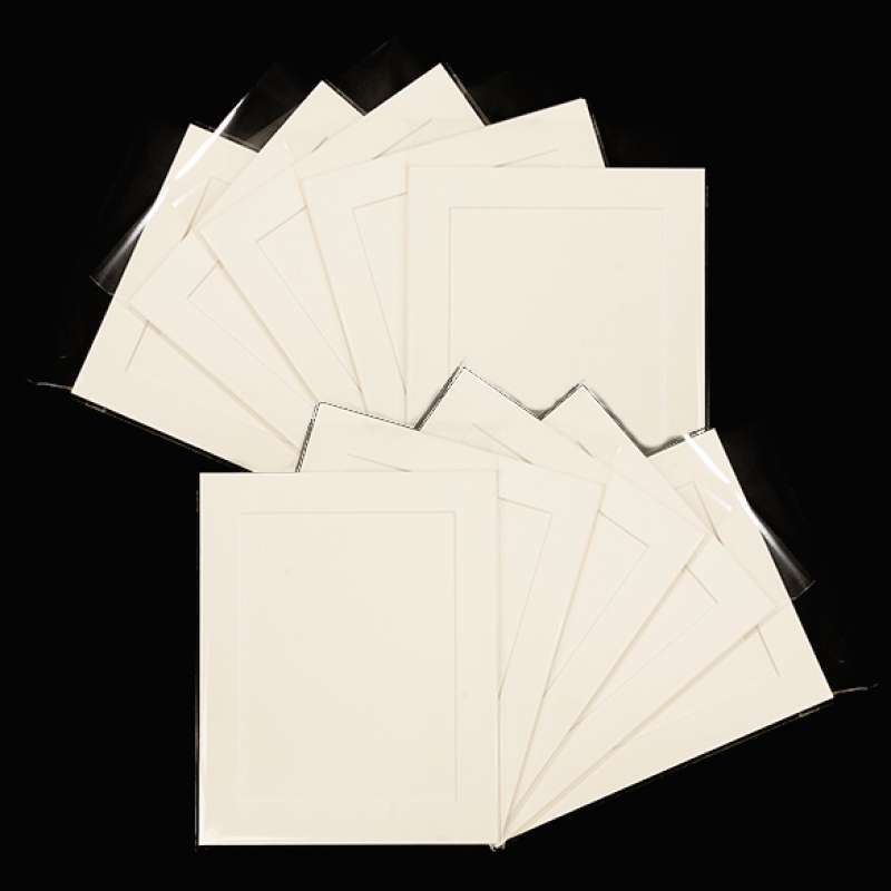 Pack of 10 Cream Picture Mounts, Backing and Bags