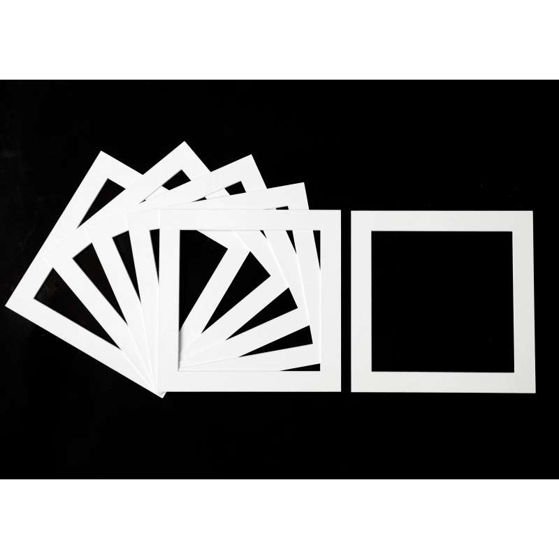 Pack of 5 White Square Picture Mounts