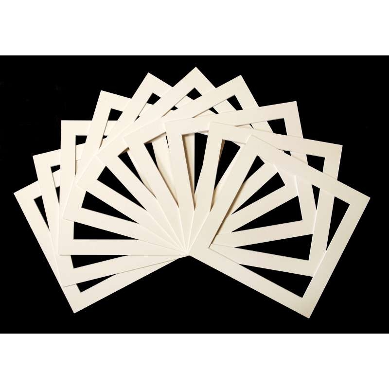 Pack of 10 Cream Square Picture Mounts